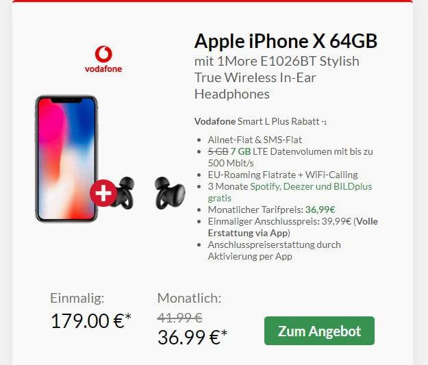 iphone x + 1more + smart l plus vodafone