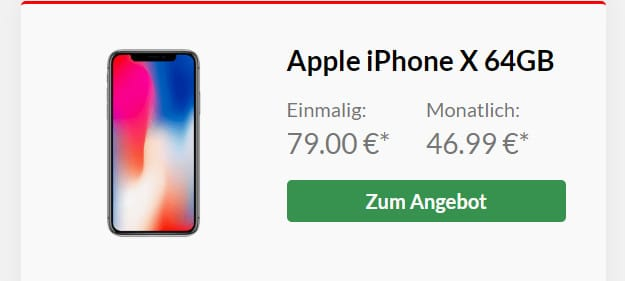 apple iphone x + vodafone smart xl 14 gb