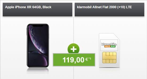 iPhone Xr + klarmobil Allnet-Flat 2000 LTE (Vodafone-Netz) bei modeo