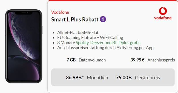 iphone xr + smart l plus vodafone