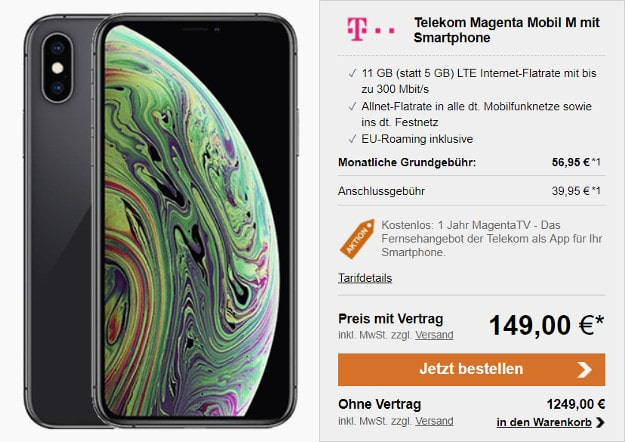 iphone xs + telekom magenta mobil m 11 gb