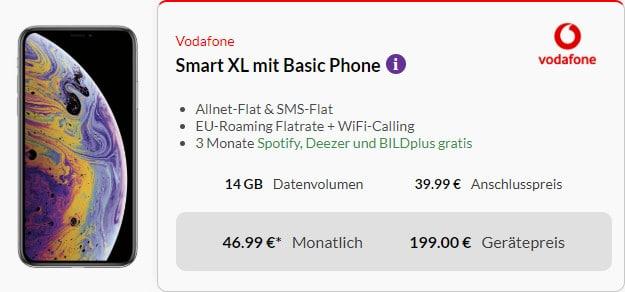 iphone xs + vodafone smart xl