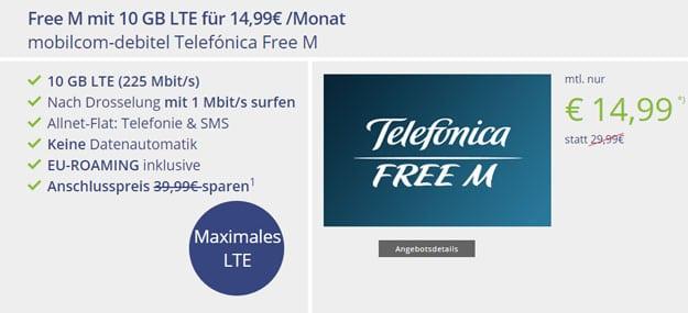 mobilcom-debitel Telefónica Free M (SIM-only) bei Vitrado