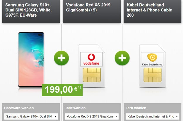 s10 plus + vodafone red xs + kabel 200