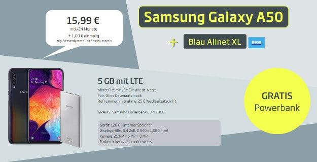 samsung galaxy a50 + blau allnet xl + powerbank