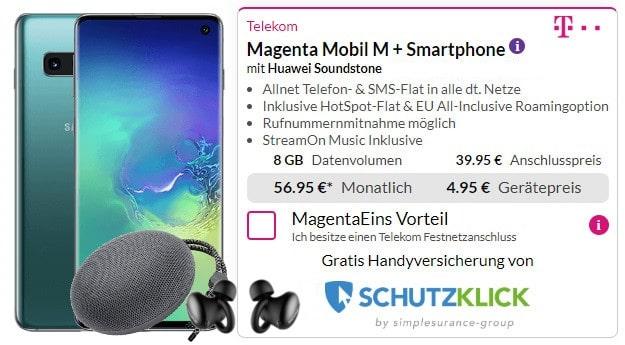 samsung galaxy s10 + mobil m + wireless headset