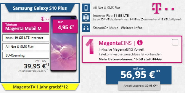 samsung galaxy s10 plus + telekom magenta mobil m und m young