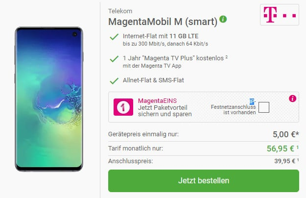 samsung galaxy s10 + telekom magenta mobil m