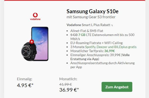 samsung galaxy s10e + samsung gear s3 frontier + vodafone smart l plus