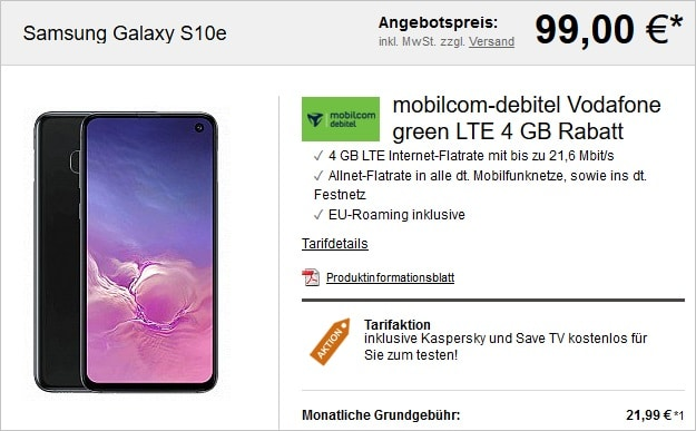 samsung galaxy s10e + green lte