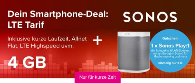 Tarifhaus 4 GB Allnet-Flat mit LTE + Sonos Play:1