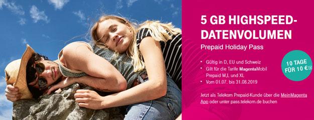 Telekom Holiday Pass für MagentaMobil Prepaid
