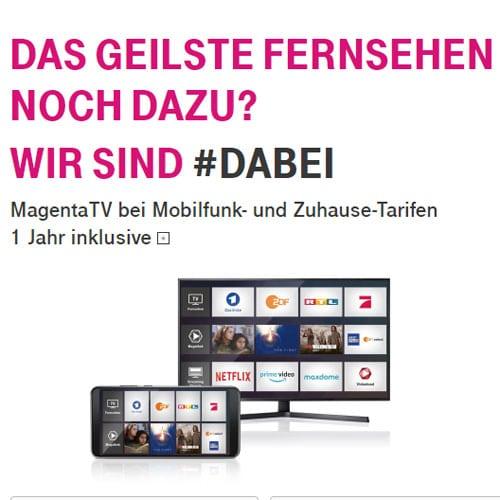 Telekom MagentaTV bei Mobilfunk- und Zuhause-Tarifen 1 Jahr gratis nutzen - Zuhause fernsehen