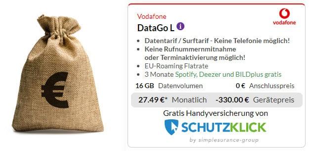 Vodafone DataGo L + 330 € Cashback bei Preisboerse24
