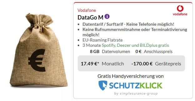 Vodafone DataGo M (SIM-only) + 170 € Cashback bei Preisboerse24