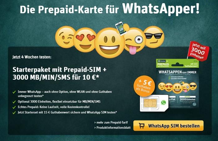 WhatsApp SIM - Prepaid-Karte mit 3000 Einheiten