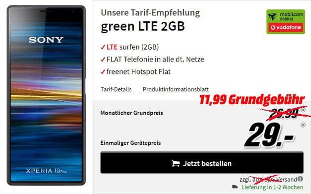Sony Xperia 10 Plus + mobilcom-debitel green LTE (Vodafone-Netz) bei MediaMarkt