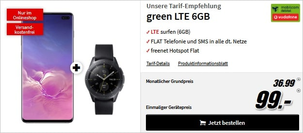 Galaxy S10 Plus + green LTE + Watch