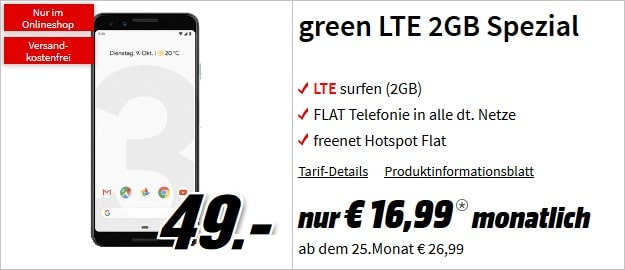 Google Pixel 3 + mobilcom-debitel green LTE (Vodafone-Netz)