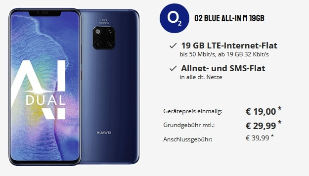 Huawei Mate 20 Pro + o2 Blue All-In M