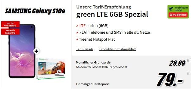 Samsung Galaxy S10e + green LTE + xbox bundle