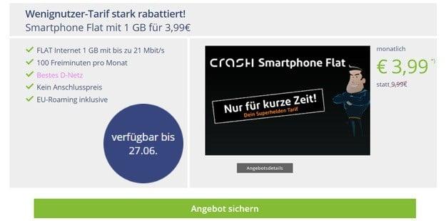 crash Smartphone Flat 1000 mit 1GB Telekom-Netz