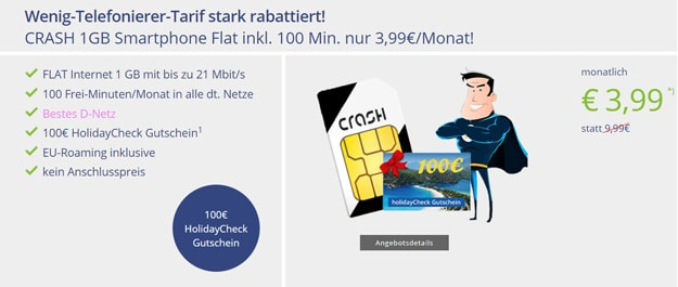 Crash Handytarif für 3,99 € im Telekom-Netz mit 100 € Reisegutschein