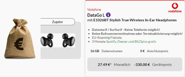 vodafone datago l + 300 € cashback + in ear headset