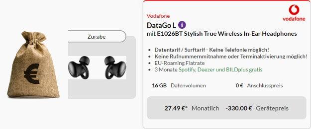 vodafone datago l + 300 € cashback + in ear headset