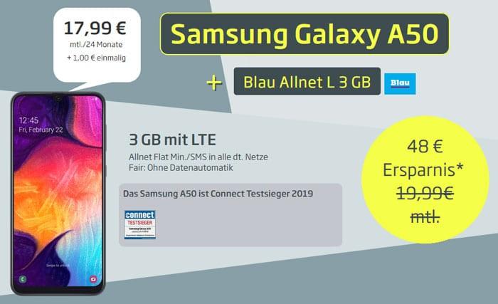 Samsung Galaxy A50 + Blau Allnet L bei Curved