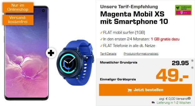Samsung Galaxy S10 + Samsung Gear Sport + mobilcom-debitel Magenta Mobil XS (Telekom-Netz) bei Saturn