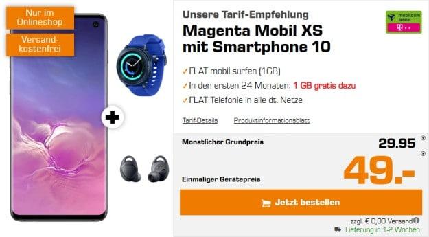 Samsung Galaxy S10 + Samsung Gear Sport + Samsung Gear IconX (2018) + mobilcom-debitel Magenta Mobil XS (Telekom-Netz) bei Saturn