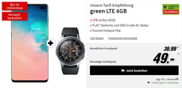 Samsung Galaxy S10 Plus + Samsung Galaxy Watch LTE (46mm) + mobilcom-debitel green LTE (Vodafone-Netz) bei MediaMarkt
