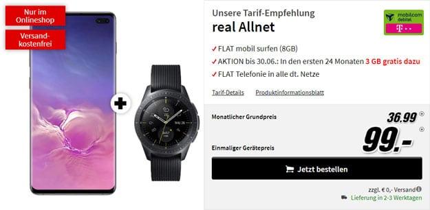 Samsung Galaxy S10 Plus + Samsung Galaxy Watch LTE (42mm, Telekom) + mobilcom-debitel real Allnet (Telekom-Netz) bei MediaMarkt