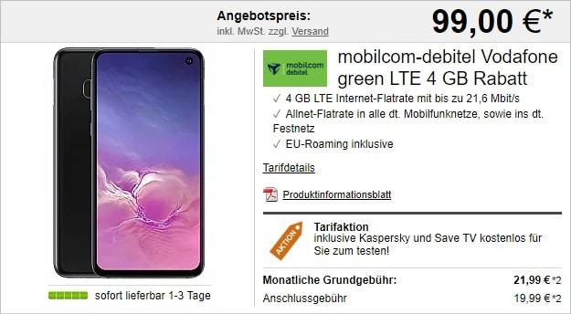 Samsung Galaxy S10e + mobilcom-debitel green LTE (Vodafone-Netz) bei LogiTel