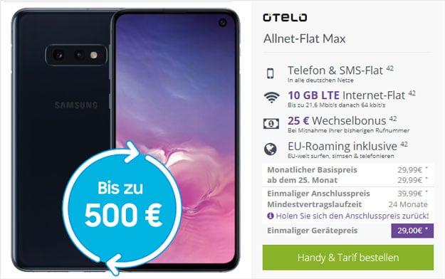Samsung Galaxy S10e + otelo Allnet-Flat Max LTE bei FLYmobile