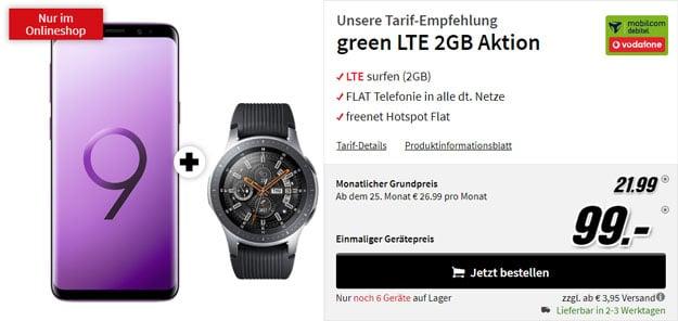 Samsung Galaxy S9 + Samsung Galaxy Watch BT (46mm) + mobilcom-debitel green LTE (Vodafone-Netz) bei MediaMarkt