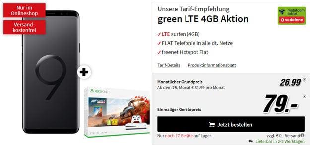 Samsung Galaxy S9 Plus + Xbox One S (1TB) Forza4 Bundle + mobilcom-debitel green LTE (Vodafone-Netz) bei MediaMarkt
