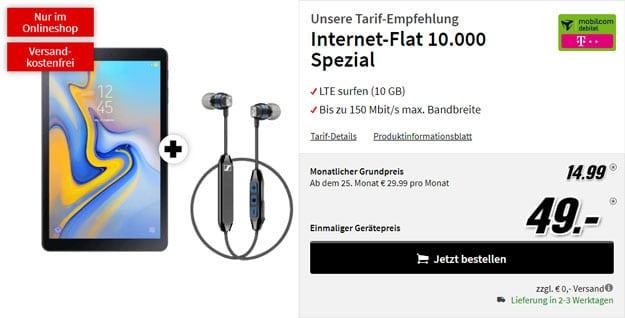 Samsung Galaxy Tab A 10.5 LTE + Sennheiser CX 6.00 BT + mobilcom-debitel Internet-Flat 10.000 (Telekom-Netz) bei MediaMarkt