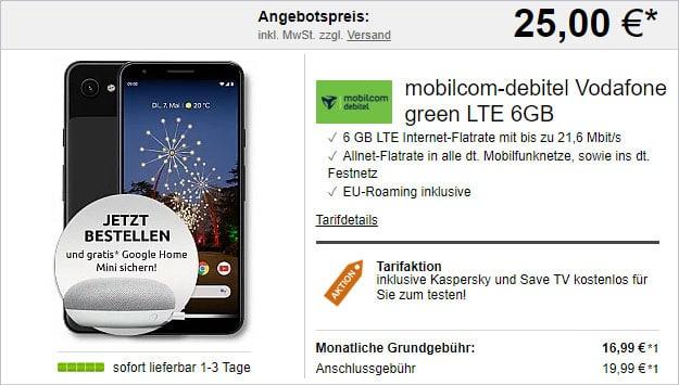 Google Pixel 3a + Google Home Mini + mobilcom-debitel green LTE (Vodafone-Netz) bei LogiTel