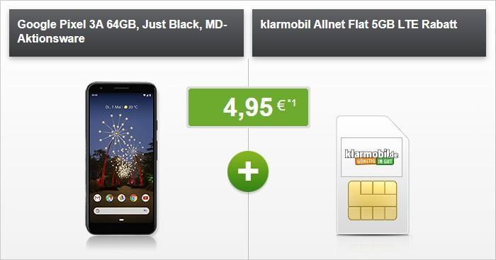 Google Pixel 3a + klarmobil Allnet Flat 5 GB LTE (Vodafone-Netz) bei Modeo