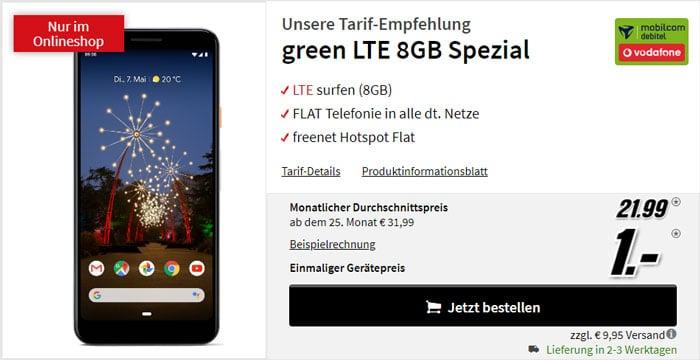 Google Pixel 3a + mobilcom-debitel green LTE (Vodafone-Netz) bei MediaMarkt
