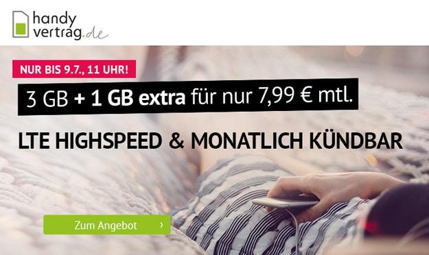 Mtl. kündbar! handyvertrag.de LTE All mit 4 GB LTE für 7,99 € mtl. (Allnet- & SMS-Flat, 1 bis 10 GB LTE, Telefónica-Netz) - teilw. ohne Anschlussgebühr