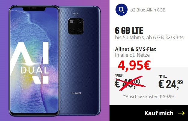 Huawei Mate 20 Pro + o2 Blue All-in M bei Sparhandy