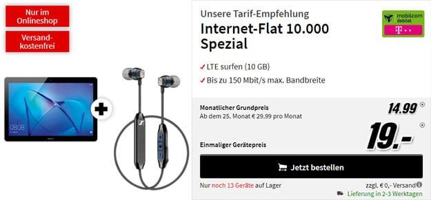 Huawei MediaPad T3 10 LTE + Sennheiser CX 6.00 BT + mobilcom-debitel Internet-Flat 10.000 (Telekom-Netz) bei MediaMarkt