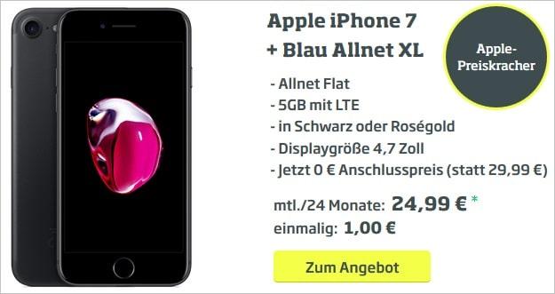 Apple iPhone 7 + 10 € Amazon-Gutschein + Blau Allnet XL bei CURVED