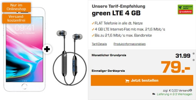 Apple iPhone 8 Plus + mobilcom-debitel green LTE (Vodafone-Netz) bei Saturn
