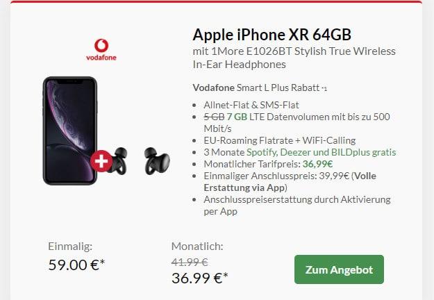 iphone xr + 1more stylish true wireless headset + vodafone smart l plus
