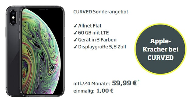 Apple iPhone Xs + o2 Free L Boost bei CURVED