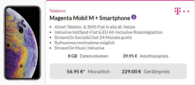 iphone xs + telekom magenta mobil m